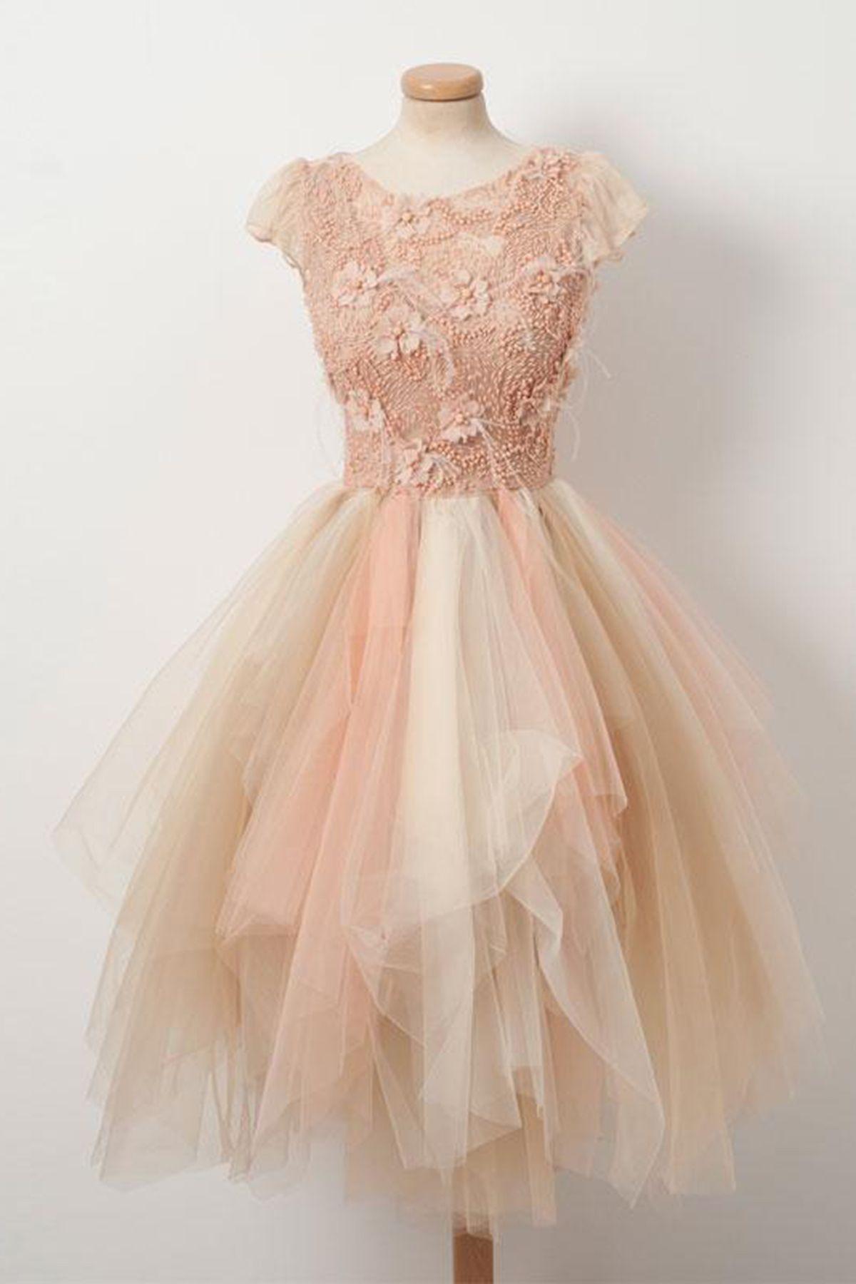 Champagne tulle beaded short homecoming dress short summer prom