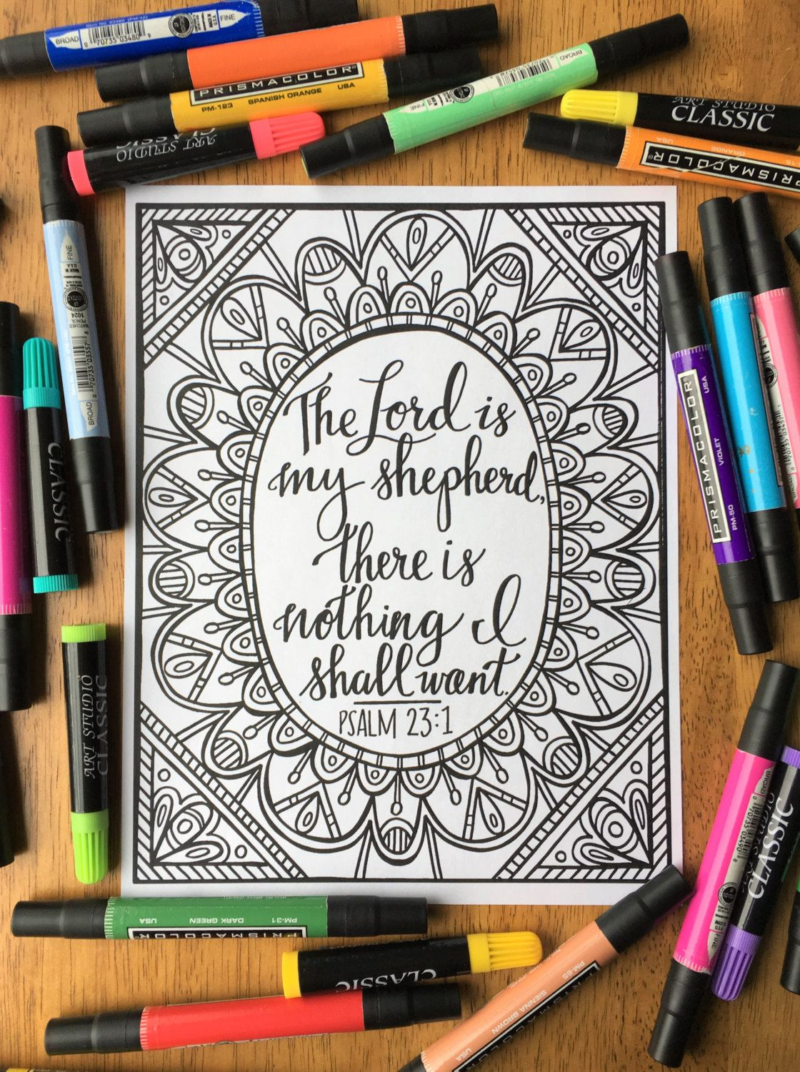 Adult Coloring Page The Lord Is My Shepherd by TheBirchAndElm ...