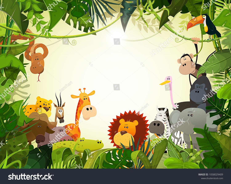Wildlife Animals Landscape/Illustration of cute cartoon