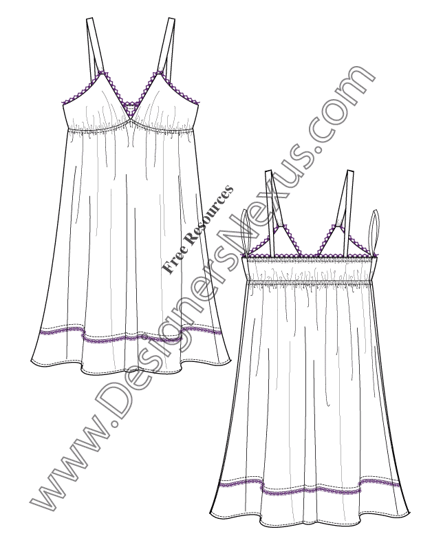 Layered Ruffle Dress Fashion Design Drawings