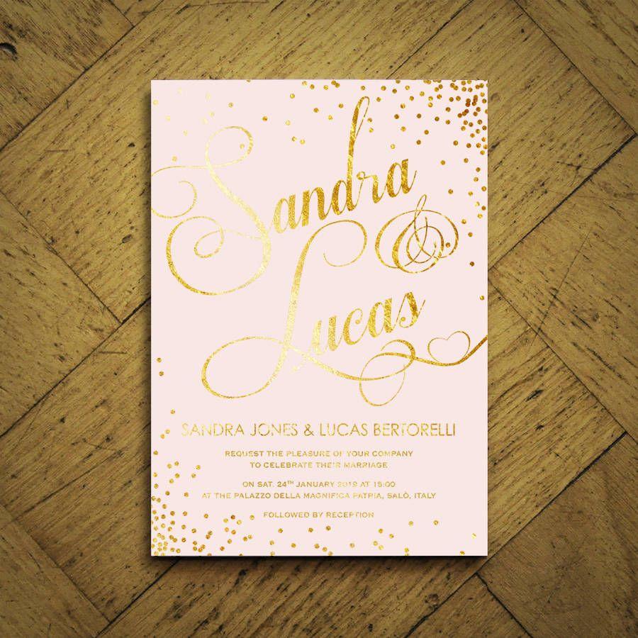 Classic Script Foiled Wedding Invitations | Wedding invitations uk ...