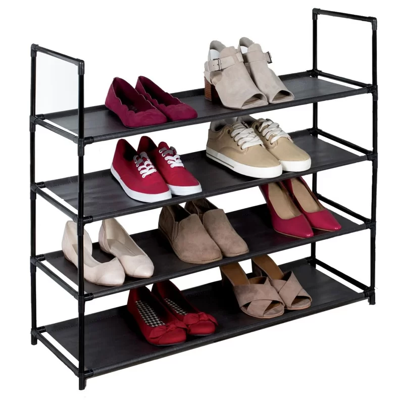 4 Tier Plastic 12 Pair Stackable Shoe Rack Space Saving Shoe Rack Stackable Shoe Rack Plastic Shoe Rack