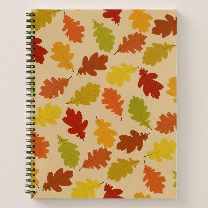 fall oak leaves spiral notebook pinterest