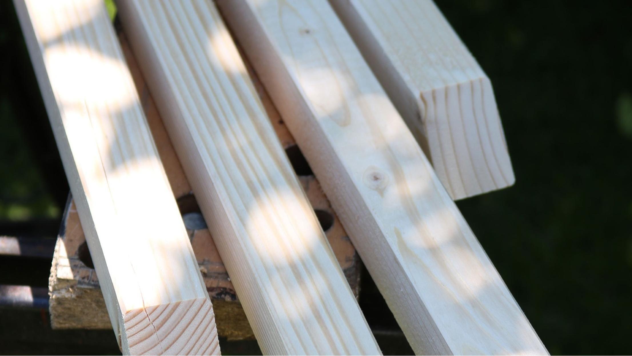 Aus diesen vier Holzbalken baust du dir eine schicke Tür ...