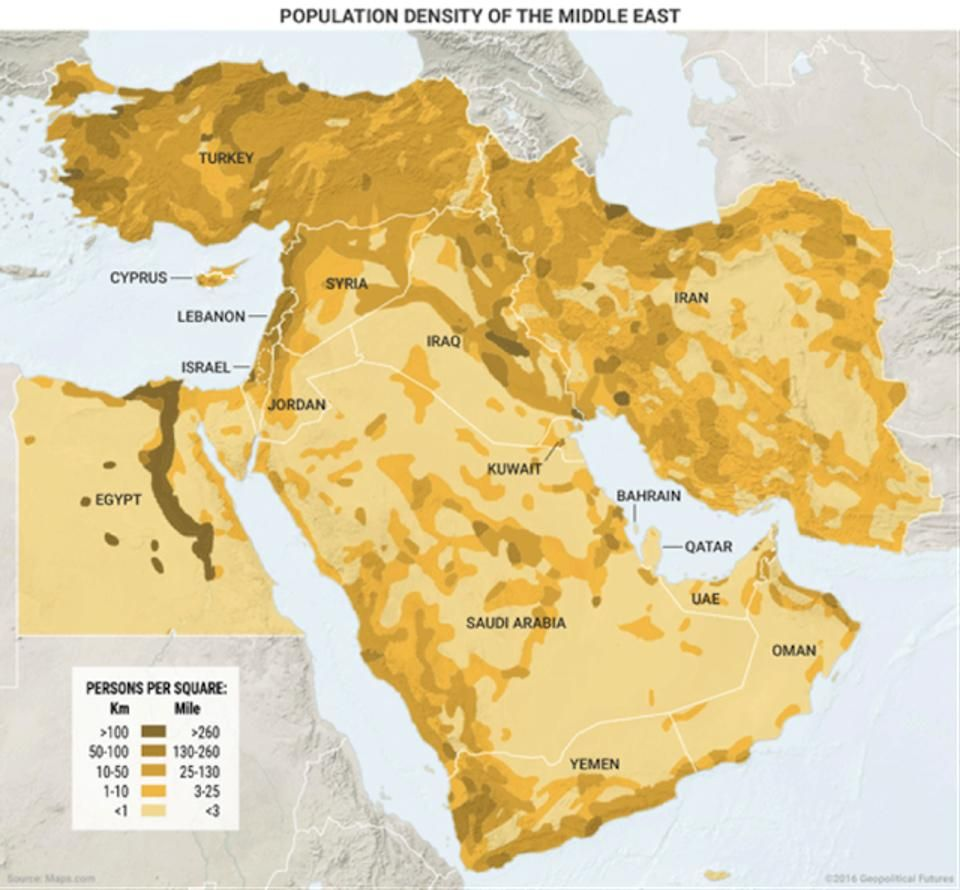 Population density of the Middle East by Forbes map middleeast