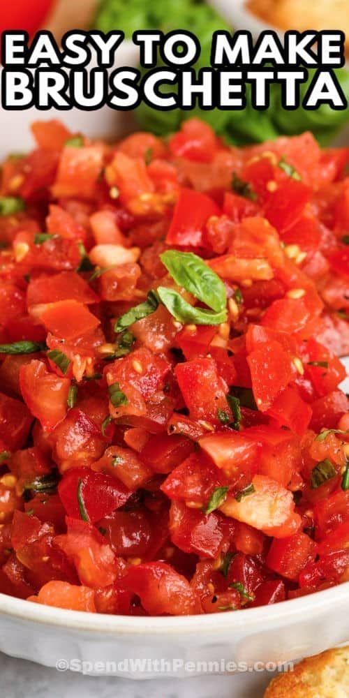Photo of Bruschetta has fresh juicy tomatoes, basil, and seasonings all piled high on toasty garlic bread!