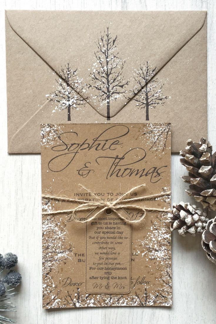 Sample Rustic Winter Wedding Invitation Rustic Wedding Etsy Rustic Winter Wedding Invitation Winter Wedding Invitations Snow Wedding