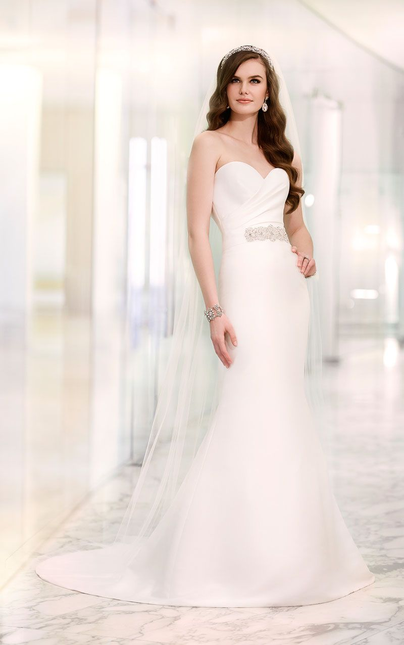 Ivory Satin Understated Strapless Sweetheart Wedding Dress with Sash ...