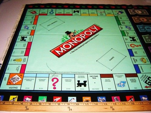 Fabric QT MONOPOLY GAME BOARD PANEL money blk NEW! | Auction Project