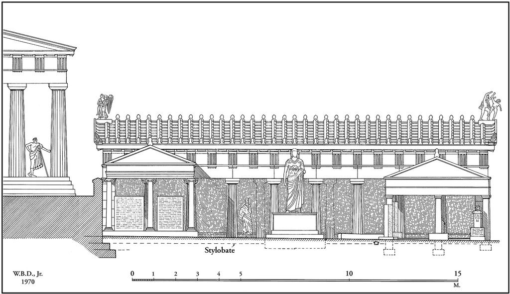 This is the Royal Stoa, it is also a long covered hall that is open on one side. This stoa is the office of the 'royal' archon. He is an important official who is responsible for all the religious laws of the city.