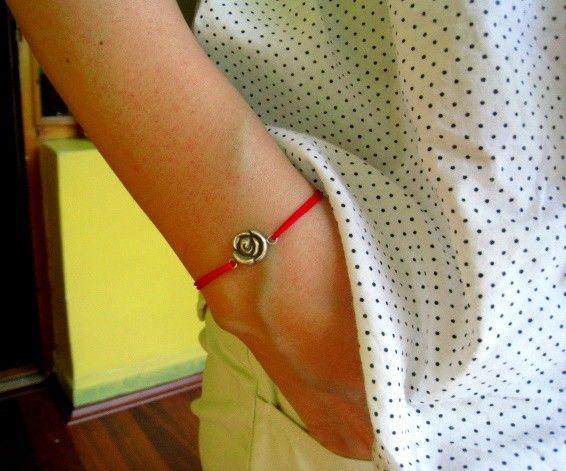Tiny Rose Bracelet Sterling Silver Red Cord by meltemsem on Etsy, $25.00