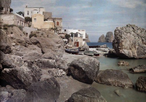 Hans Hildenbrand. A view of the harbor at Capri. Capri, Italy.