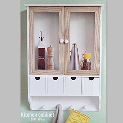 Küchenschrank Wandschrank Hängeschrank 4 Haken 4 Schubladen 2 - küchenschrank mit schubladen
