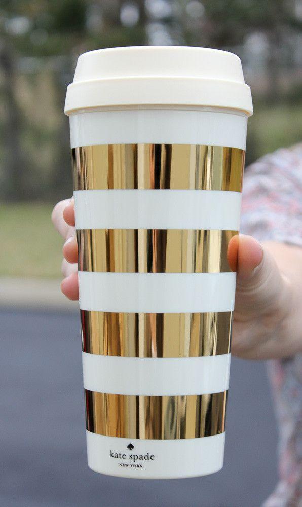 Kate Spade Thermal Mug - Gold Stripes