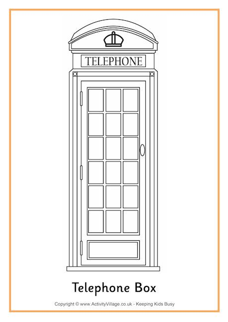 Telephone Box Colouring Page Coloring Pages Book Wallpaper