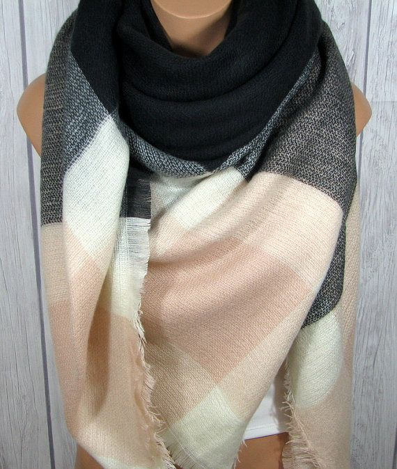 d4084e2f170a8 SALE 2 Days Only Blanket Scarf for Women, Gray, Soft Light Pink, Black,  Women's Zara Tartan Inspired, Oversized Large Winter Scarves
