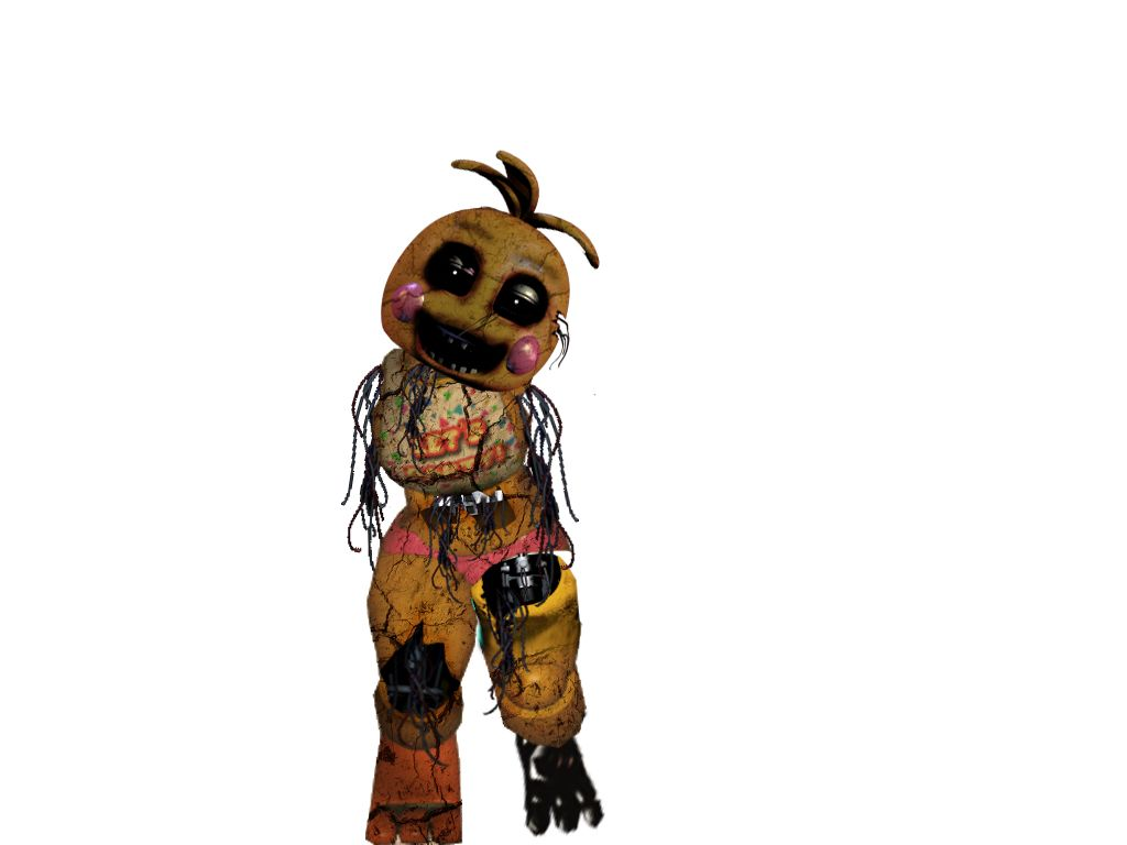 This is old toy chica  She is all withered up and broken as