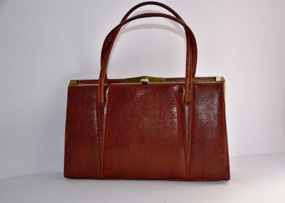 Vintage Brown Marquessa Lizard Skin Leather Handbag 50s 60s Kelly Style Bag Uk Ebay Bags