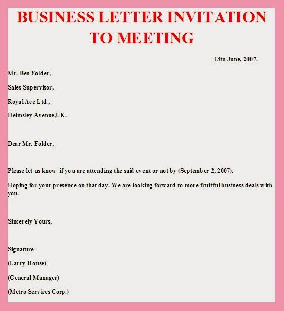 sample business letter invitation meeting pics photos advisory - business event invitation