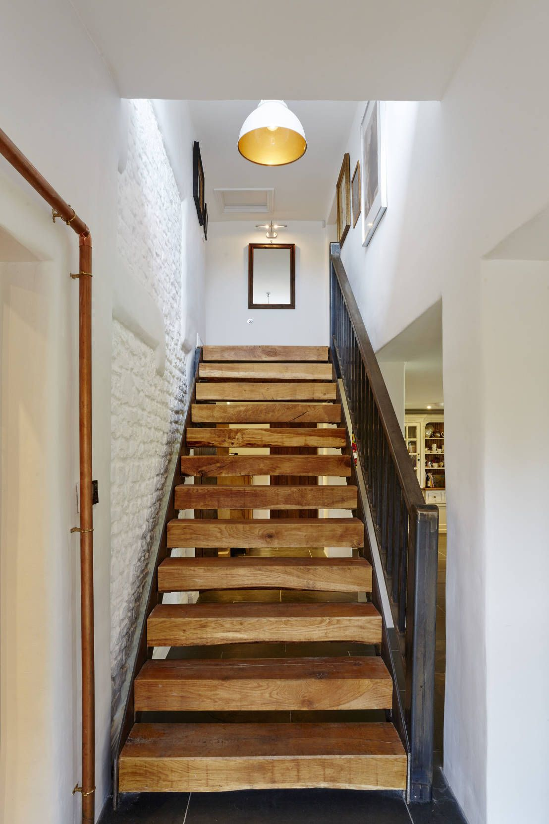 Floating staircase country style corridor hallway stairs by hart design and construction