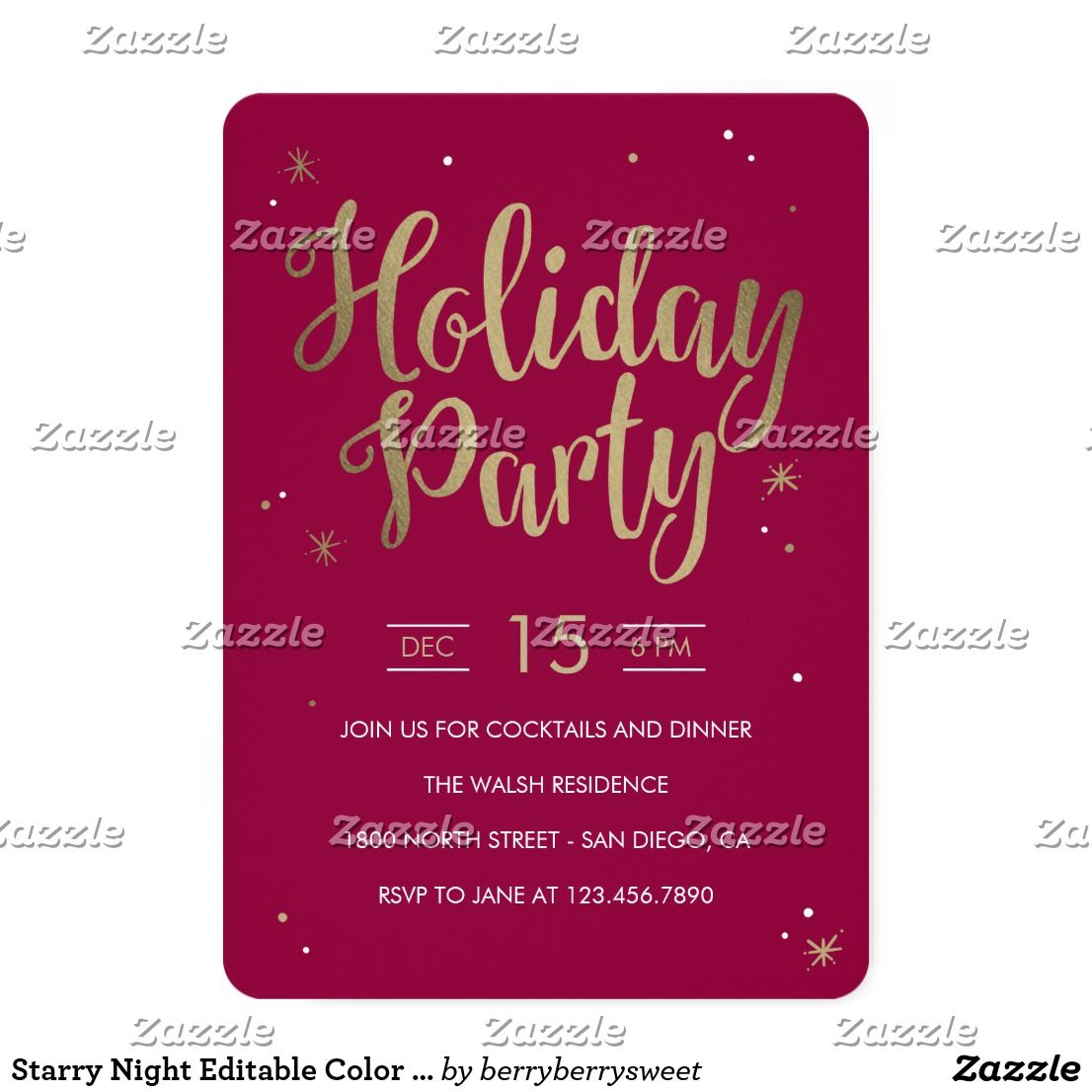 Starry Night Editable Color Holiday Party Invite   Holiday party ...