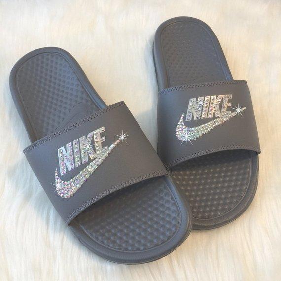 Women's Nike Slides Swarovski GREY Custom NIKE JDI Sandals