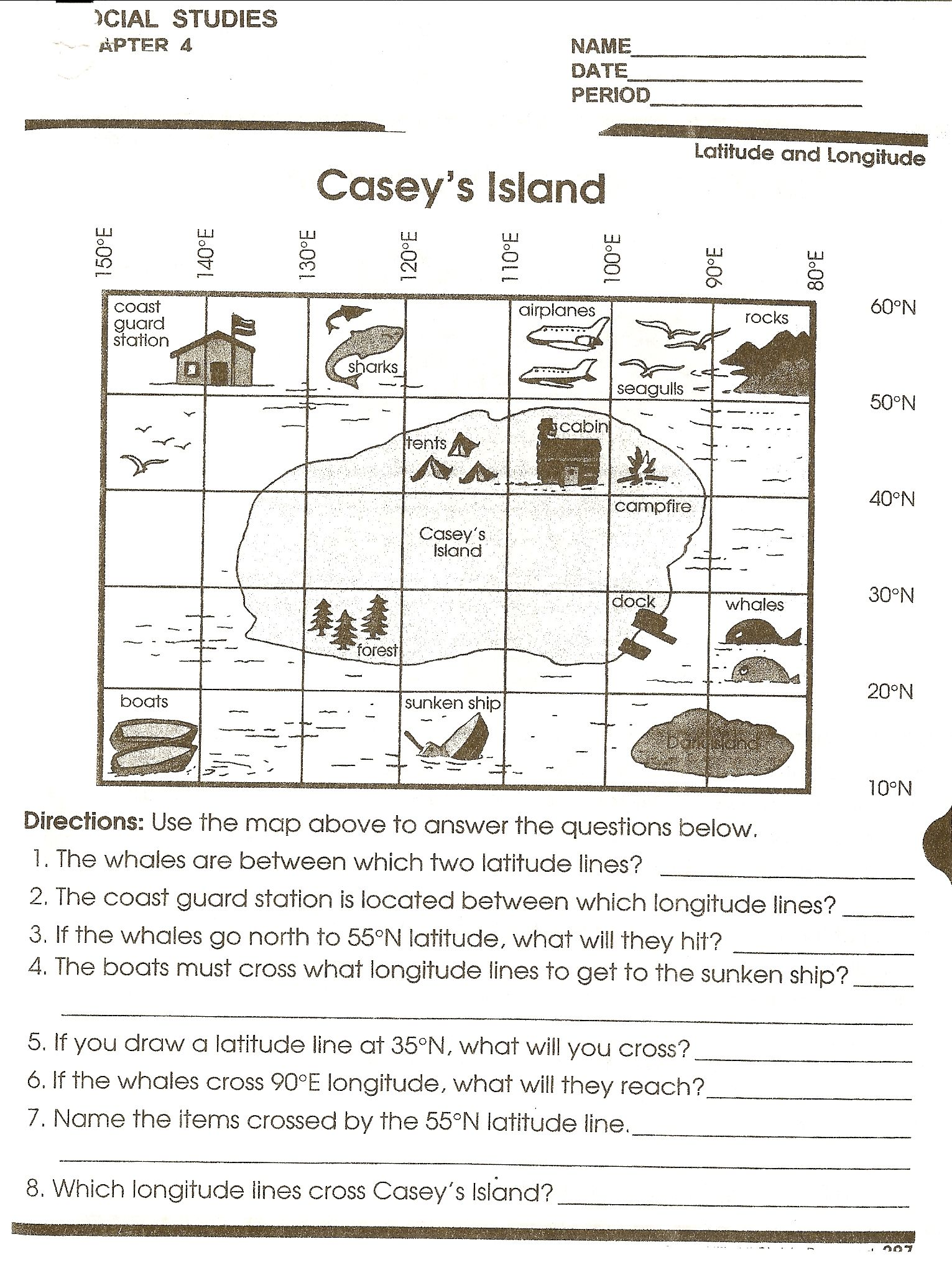 worksheet Reading A Weather Map Worksheet caseys island map reading jpg pixels school stuff for pixels