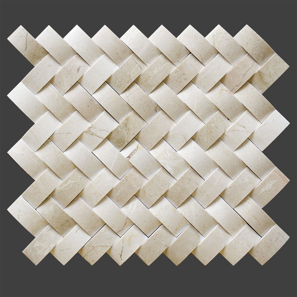Crema Marfil Marble Polished 3D Herringbone Mosaic Tile From http ...