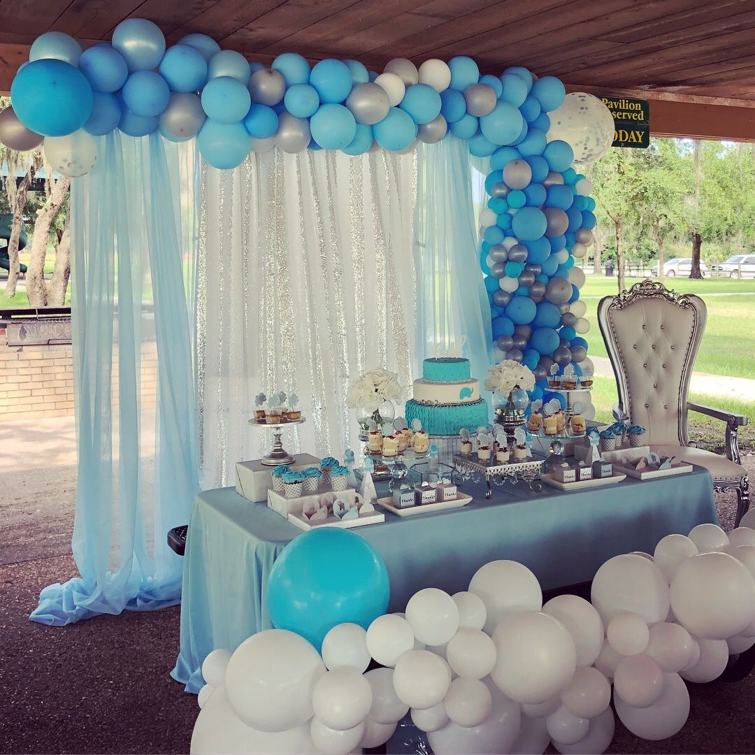 Elephant Theme Baby Shower For Boy Balloongarland