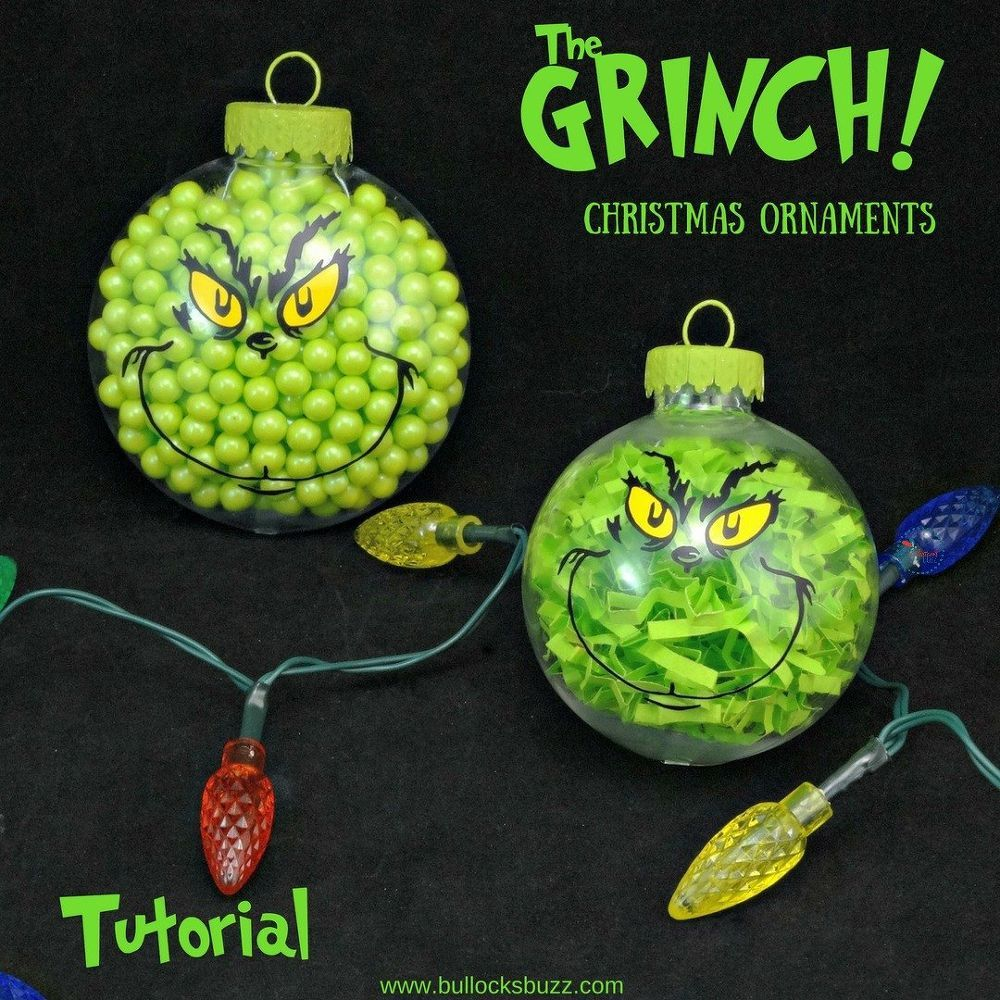 Two Adorable DIY Grinch Christmas Ornaments Grinch