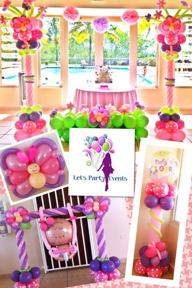 Butterflies and flowers baby shower decoration balloon for Baby shower butterfly decoration ideas