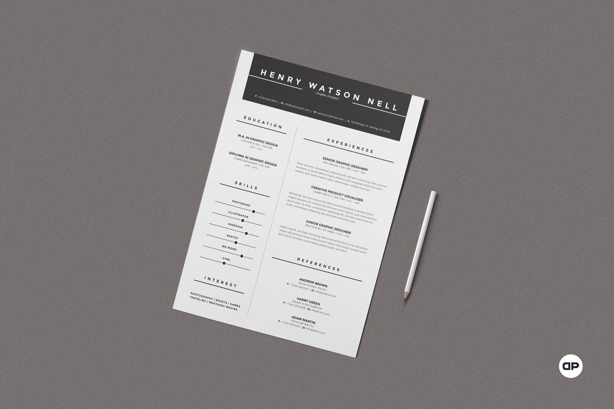 ad  clean resume  cv by design park on  creativemarket