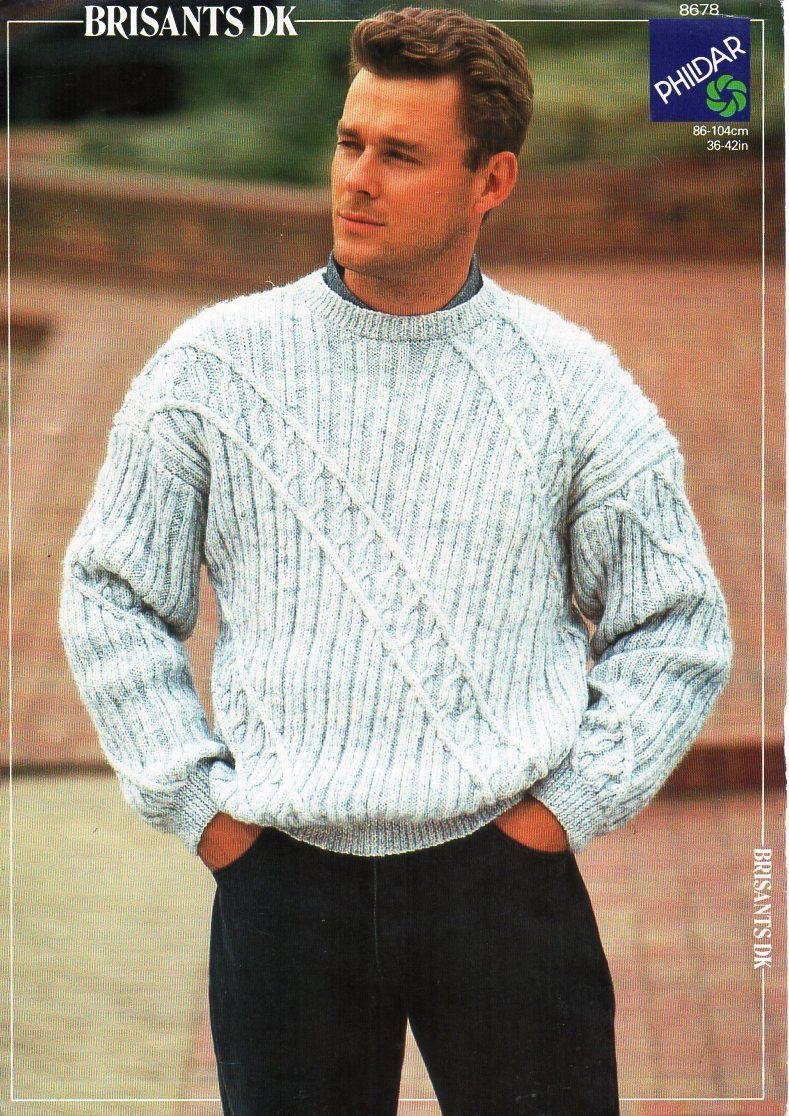 mens sweater knitting pattern PDF mens crew neck sweater round neck ...