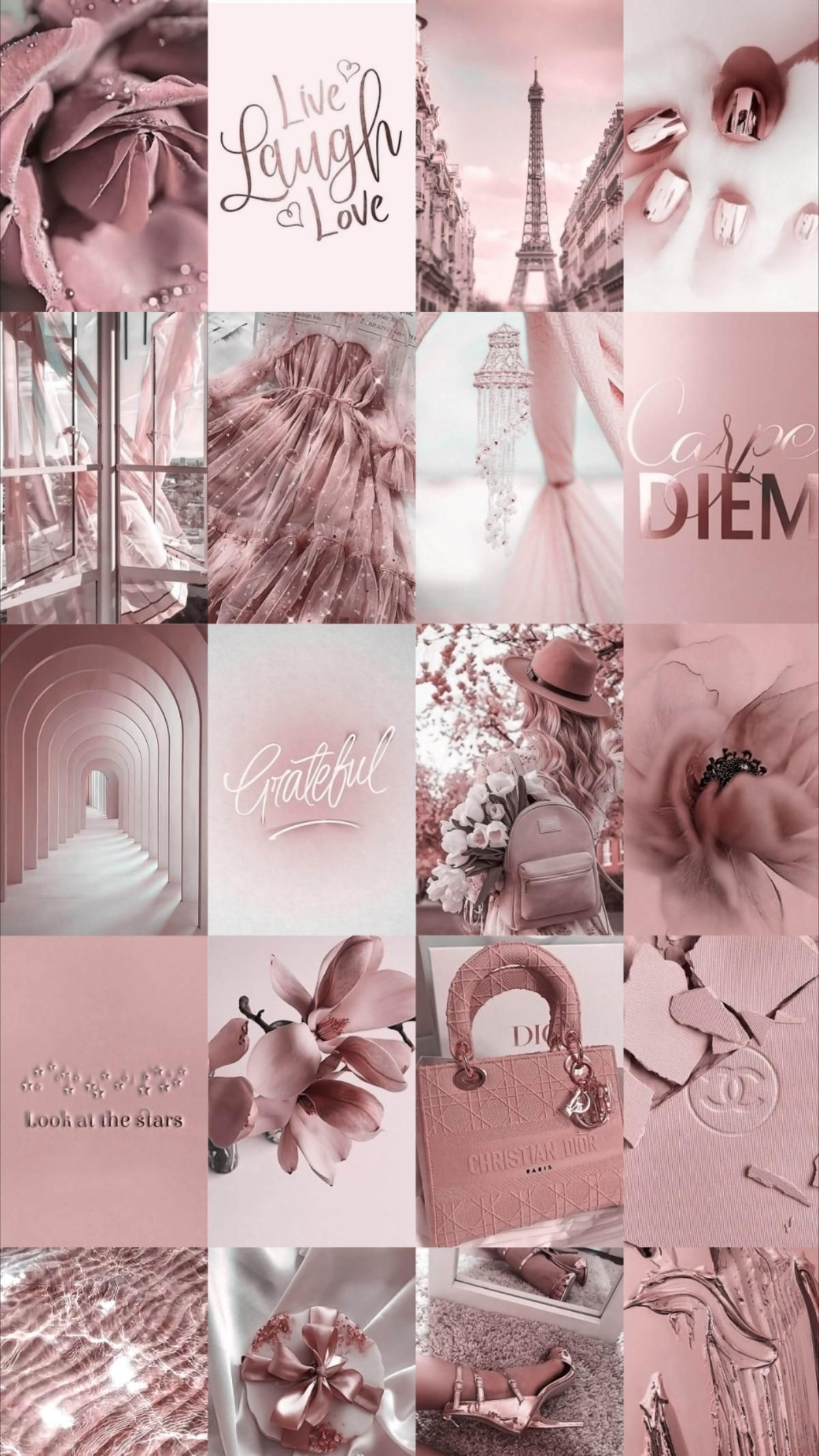 Spice up your room with this rose gold aesthetic wall collage!