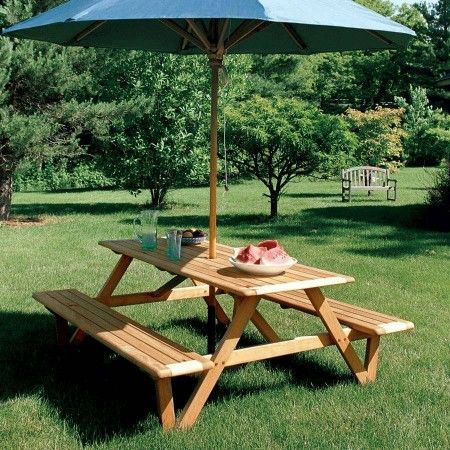Nice Larchmont Picnic Table With Teak 10 Ft. Octagon Umbrella In Sapphire Blue.