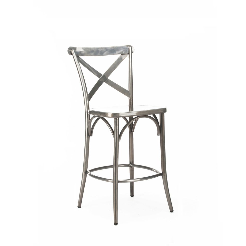 Phenomenal Cross Back Clear Gunmetal Steel 24 Inch High Back Counter Caraccident5 Cool Chair Designs And Ideas Caraccident5Info