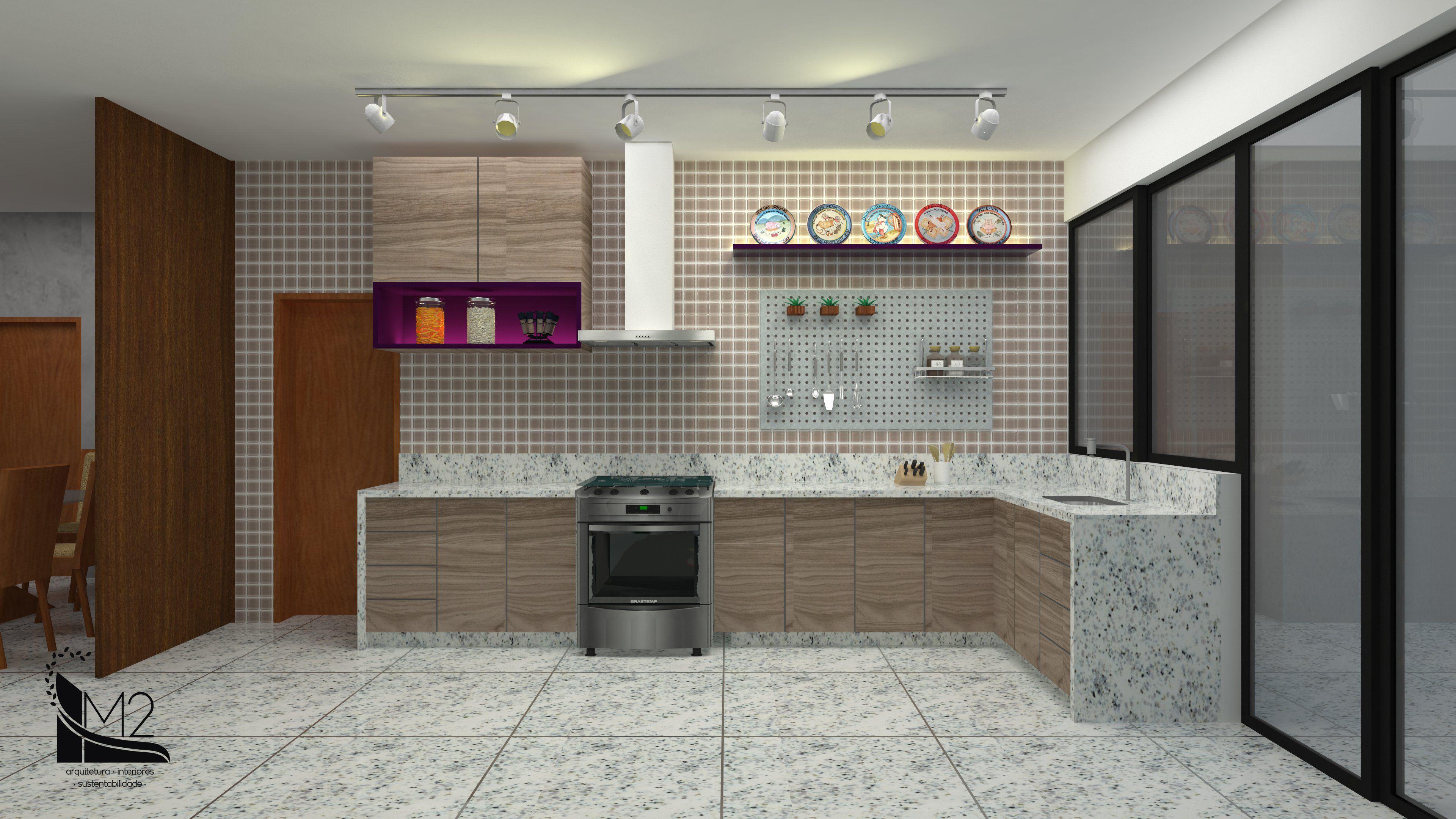 Cozinha No Estilo Industrial Com Ilumina O Em Trilho Eletrificado