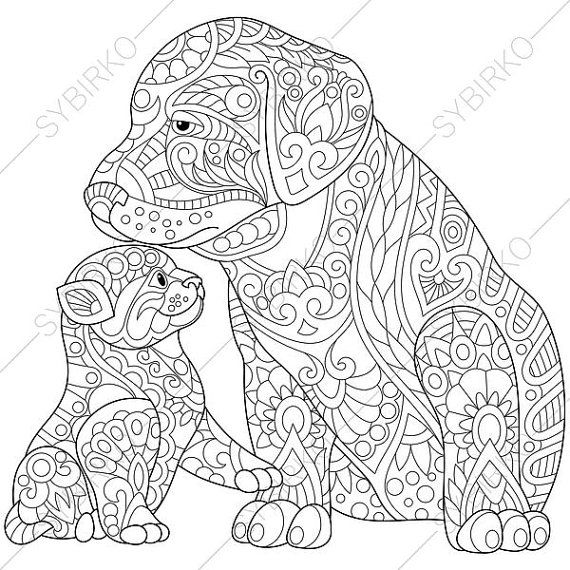 adult coloring page cat and dog zentangle doodle coloring pages for adults digital illustration instant download print