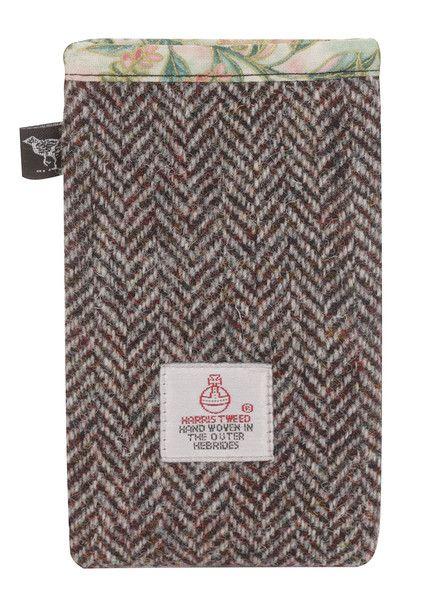 Phone Cover In Brown Herringbone Harris Tweed.