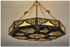 Handcrafted Moroccan Oxidized Gold Brass Ceiling light Fixture Chandelier Lamp