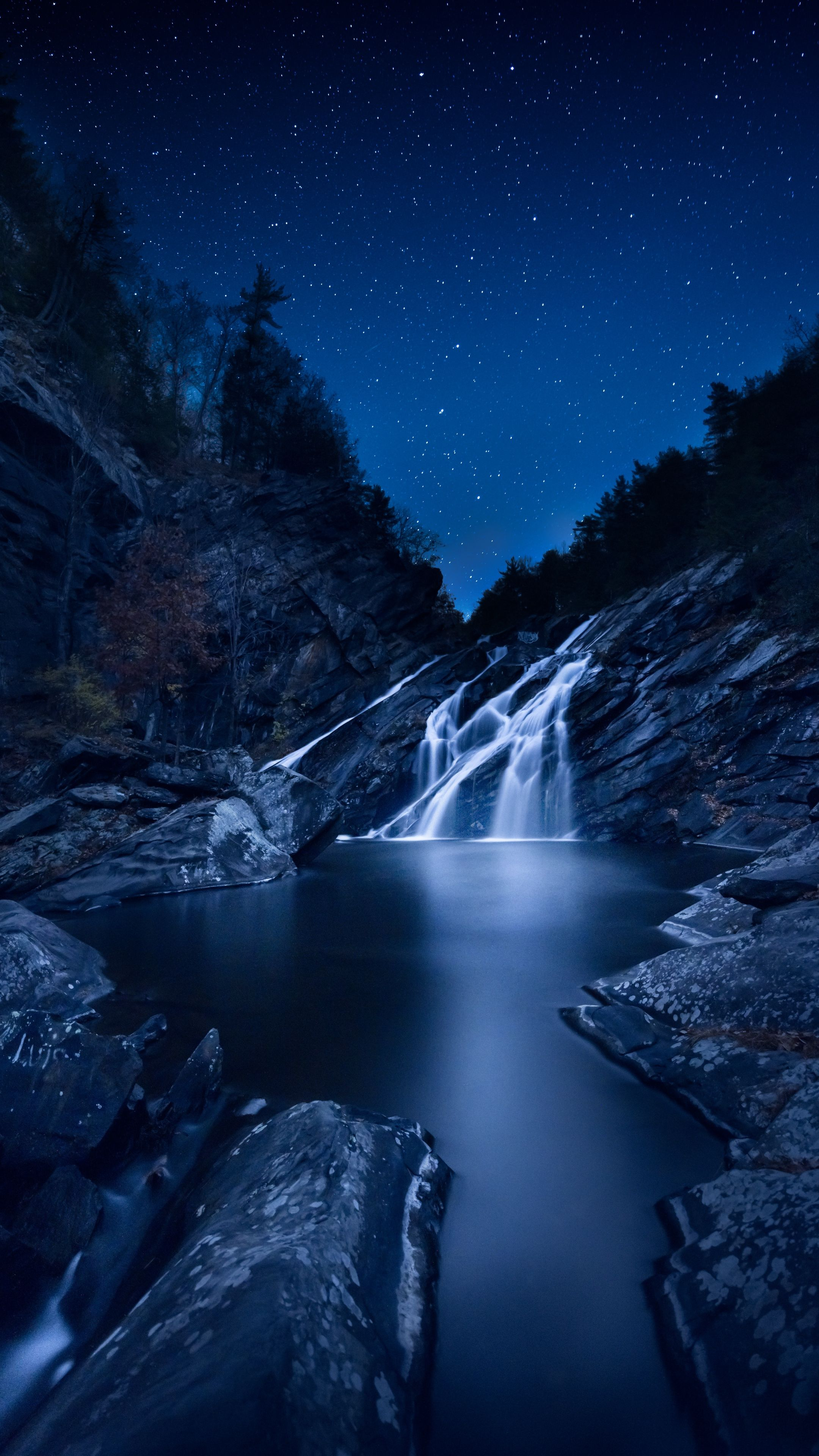 Nature waterfall starrysky stones wallpapers hd 4k