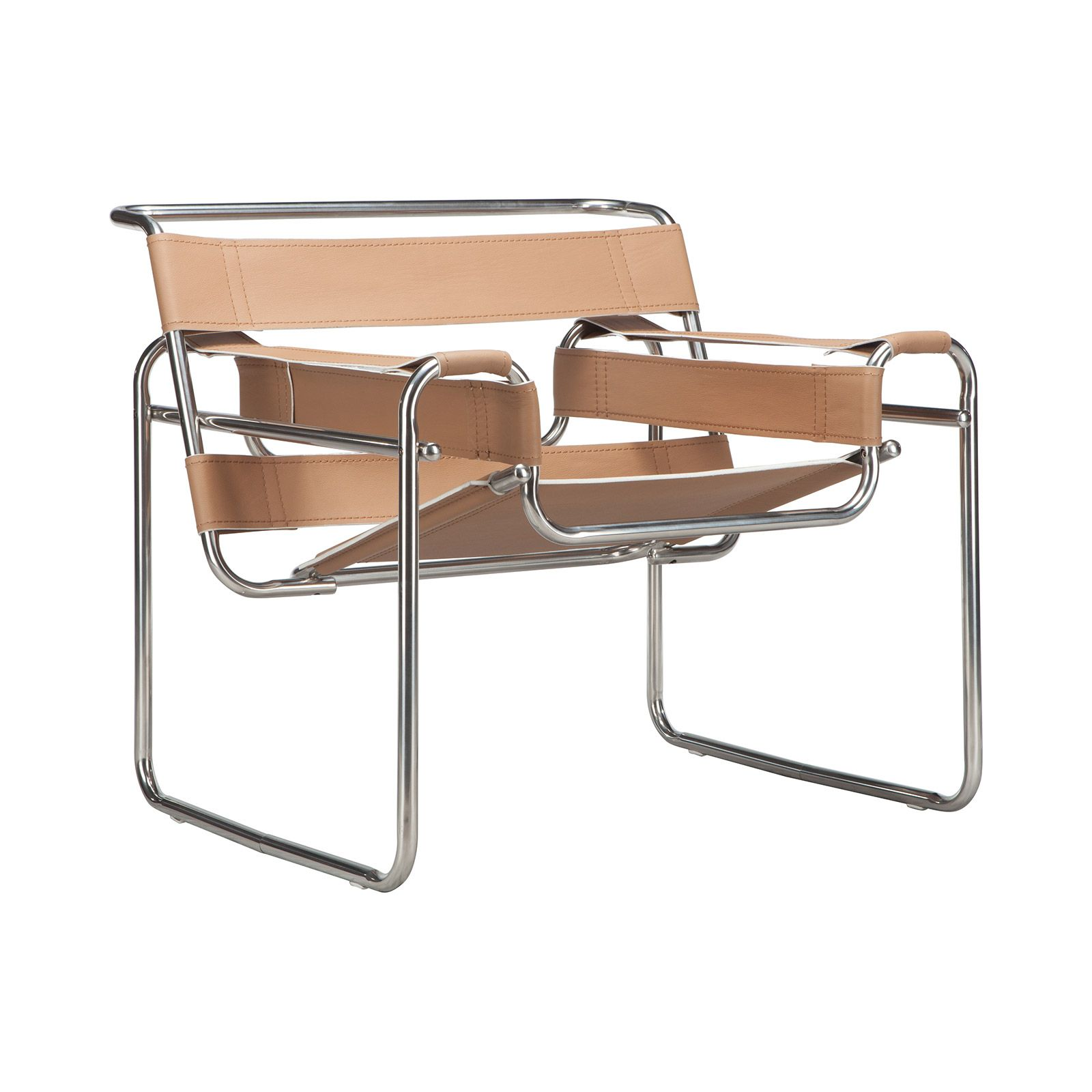 Classic mid century steel and leather chair...elegant to look at...but if you are short...you need someone to get you back out of it!  I know...I'm short! Great design though!
