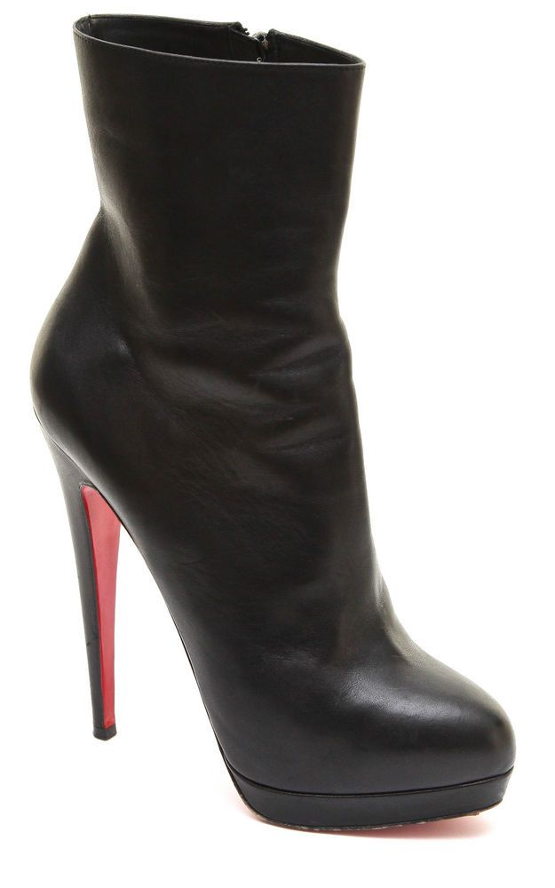 online store 71fbb e3394 Christian Louboutin Black Leather Platform Ankle Boot Bootie ...