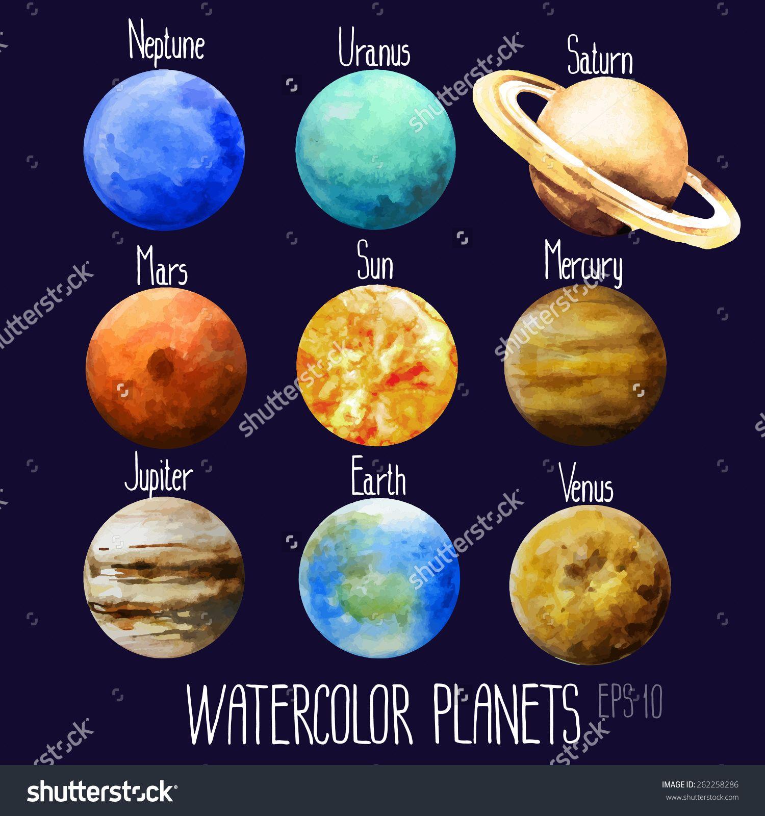 Stock Vector Watercolor Planets Sun Mercury Venus Earth Mars Jupiter Saturn Uranus Neptune Vector 262258286 Jpg 1500 16 Planet Painting Planet Drawing Planets