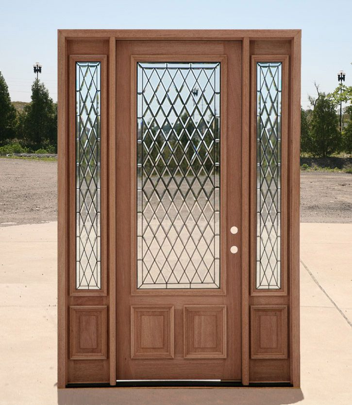 Diamond Pattern Glass In A Solid Core Wood Door 3 Main Entrance