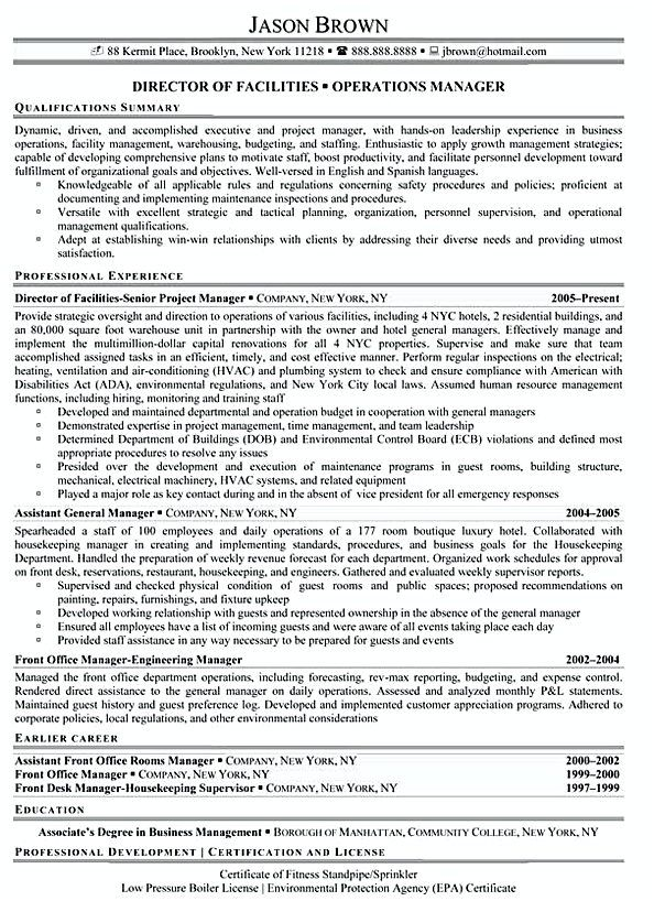 Sample Resume Operations Manager Facilities Manager Manager Resume