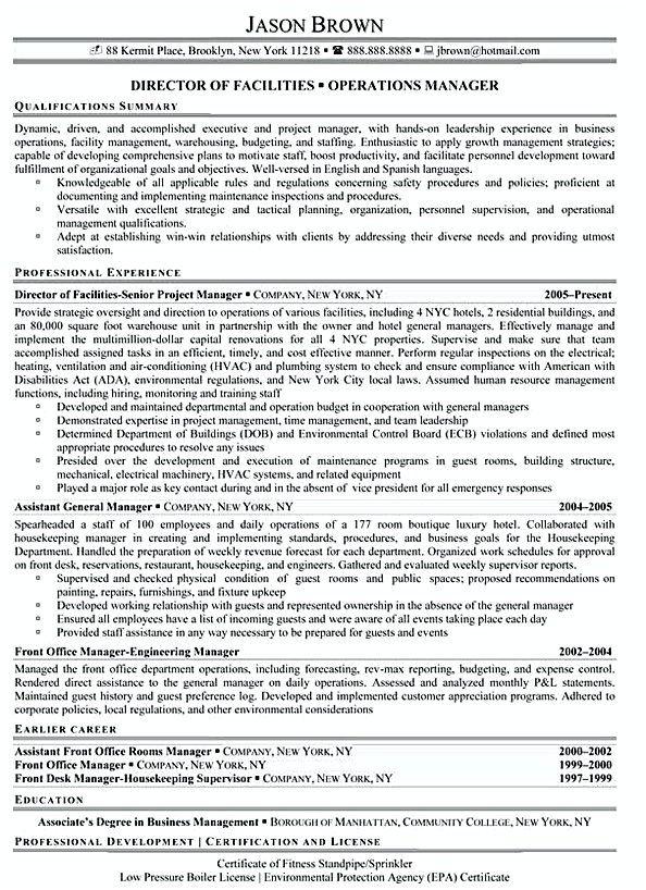 Director of Facilities Director of Facilities Resume Example