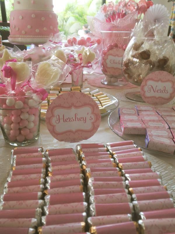 Cumplea os ni a dulces personalizados con etiquetas - Mesas dulces para ninas ...