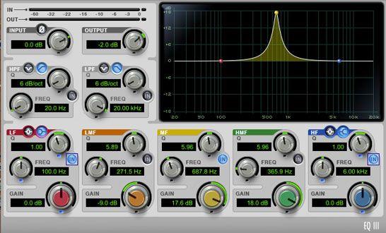 Vista del ecualizador paramétrico usando una ganancia positiva, produccion musical, https://promocionmusical.es/produccion/: