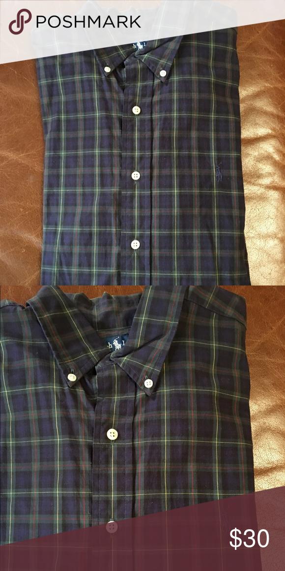 72d8843af Mens Ralph Lauren checkered button down shirt Mens Ralph Lauren Blake navy  blue